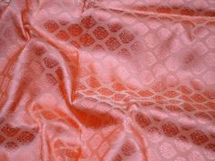 Peach Indian Jacquard Brocade Wedding Dress Fabric By The Yard | Etsy Floral Cushions, Floral Fabric, Brocade Fabric, Jacquard Fabric, Fabric Crafts, Sewing Crafts, Etsy Fabric, Gold Silk, Peach Colors