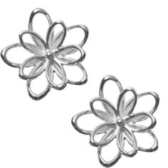 Silver 3D Flower Stud Earrings (165 HRK) ❤ liked on Polyvore featuring jewelry, earrings, accessories, brincos, floral earrings, silver jewellery, earring jewelry, silver jewelry and flower stud earrings