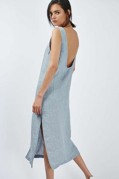 Linen Button Through Dress - Topshop