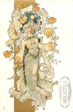 Eva Daniell - Art nouveau artist  woman in grey & yellow, stands holding very long stemmed crysanthemums