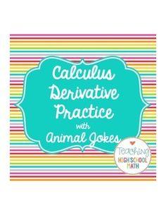 Calculus derivative practice - trig derivatives, product and quotient rule, basic rules. with fun Animal Jokes! Math Tutor, Math Math, Math Classroom, Fun Math, Teaching Math, Maths, Teaching Resources, Teaching Ideas, Classroom Ideas