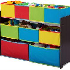 Delta Children Multi-Color Deluxe Toy Organizer with Storage Bins, Baby Kids Storage Bins, Decorative Storage Bins, Toy Storage Boxes, Toy Bins, Toy Organization, Organizer Bins, Organizers, Bookshelves Kids, Delta Children