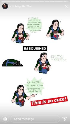 Omg das ist so süß Loki Babysitter bab … Omg, das ist so süß. Loki Babysittens Baby Peter Omg that's so cute Loki Babysitter bab … Omg, that's so cute. Marvel Avengers, Marvel Jokes, Marvel Comics, Baby Avengers, Captain Marvel, Funny Marvel Memes, Dc Memes, Avengers Memes, Marvel Heroes