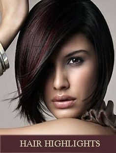Totally Chic Short Bob Hairstyles For Girls. layered short bob hairstyles with bangs. short layered bob hairstyles for thick hair. short layered bob hairstyles for fine hair Short Hair Cuts, Short Hair Styles, Dark Hair With Highlights, Burgundy Highlights, Color Highlights, Auburn Highlights, Burgundy Bob, Peekaboo Highlights, Brown Hair With Red Highlights