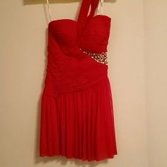*SALE* Classy Cocktail/Formal Dress This fabulous, Terani Couture, one shoulder dress is great for that special occasion! It's red with jewel sequins on the left side. It says a size 0 but runs big and has only been worn once. Price is negotiable. Terani Couture Dresses One Shoulder
