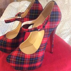 Christian Louboutin Tartan Mary Jane With duster bag , no box. Good condition. Minor scuffing to back of right heel pic2. Runs slightly smaller . Would recommend for a us 6.5-7-open for trades on other Louboutin or Louis Vuitton Christian Louboutin Shoes