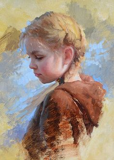 """""""Summer's End"""" - Marci Oleszkiewicz, oil on canvas {contemporary impressionistic art beautiful blonde female child head profile young girl face portrait cropped painting} <3 marcioleszkiewicz.com:"""