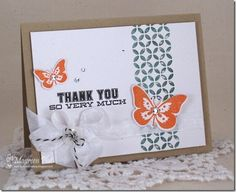 CLEARLY BESOTTED STAMPS Butterfly Wishes/Many Thanks MEMORY BOX Piestra Tile