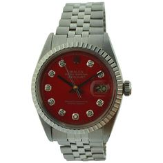 Vintage Rolex Datejust red diamond dial wrist watch, circa This stainless steel wrist watch has 26 jewel movement with Jubilee bracelet. Stainless Steel Rolex, Stainless Steel Bracelet, Antique Watches, Vintage Watches, Rolex Watches, Watches For Men, Wrist Watches, Factory House, Rolex Women