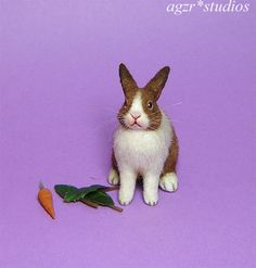 OOAK 1:12 Dollhouse Miniature Rabbit Bunny Pet Animal Furred Handmade Realistic