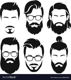 Set of silhouette bearded men faces hipsters style with different haircuts. Beard And Mustache Styles, Beard Styles For Men, Hair And Beard Styles, Goatee Beard, Beard Art, Men Beard, Beard Haircut, Christian Bale Beard, Tom Hardy Beard