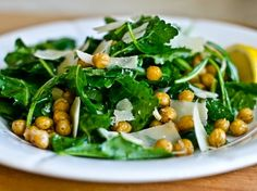 Baby Kale Salad with Lemon, Parmesan & Crispy Roasted Chickpeas. Perfect winter salad - try with pizza tonight. Salad Dressing Recipes, Salad Recipes, Salad Dressings, Picnic Recipes, Cooking Recipes, Healthy Recipes, Keto Recipes, Citrus Recipes, Superfood Recipes