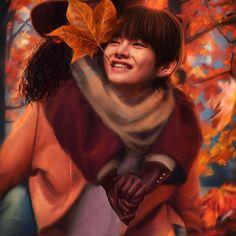 "'Kim Taehyung ""Otoño""' by Ellen-Drawings Taehyung Abs, Taehyung Fanart, Jungkook Fanart, Foto Jungkook, Foto Bts, Bts V Girlfriend, Black Girlfriend, Drama Eng Sub, Interracial Art"
