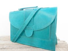 Leather Messenger Bag for Women Turquoise Leather by NoussaBags