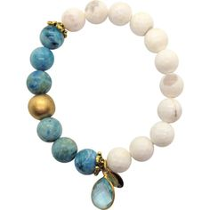 Teramasu White Agate Hemimorphite with Blue Topaz Charm Bracelet ($139) ❤ liked on Polyvore featuring jewelry, bracelets, agate bangle, white agate jewelry, white jewelry, white bangle and blue topaz jewelry