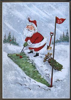 Vintage Christmas Card: SANTA CLAUS GOLFING