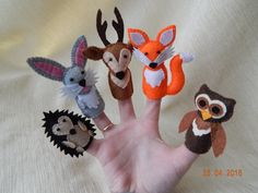 Felt finger puppets. Finger puppet theater. 5 forest animals - felt toys. Finger family. Animal finger puppets. With finger puppets children will be interested to play alone and together with the family. Children under 3 years old with these toys can play only under adult supervision. 5 animals: fox, bunny, deer, hedgehog and owl. Materials: felt, stuffing - polyester, beads, cotton floss. Weight: 15 gr. Care: hand wash 30 ° C
