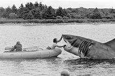Jaws receiving some touch-ups during shooting. Jaws Quartet
