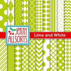 Lime Green Digital Papers in Graphic by JennyAllsortsDesign, $3.00
