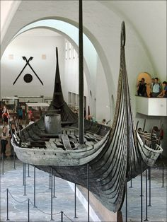 The Oseberg ship- incredibly well preserved Viking Burial ship from the 9th Century The Oseberg burial mound contained numerous grave goods and two female human skeletons. The ship's interment into its burial mound dates from 834 AD, but parts of the ship date from around 800, and the ship itself is thought to be older. It was excavated by Norwegian archaeologist Haakon Shetelig and Swedish archaeologist Gabriel Gustafson in 1904-1905.