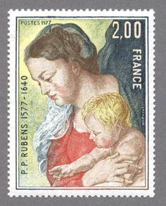 timbres de france/timbre france 1977 - 1958 - Vierge a l Enfant, detail du tableau de Pierre Paul Rubens pour le 4e centenaire de sa naissance 1577.JPG