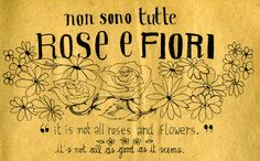 Non sono tutte rose e fiori - it's not all roses and flowers(it's not all as good as it seems)