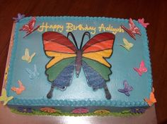 Rainbow butterfly birthday cake By VeronicaLuis on CakeCentral.com