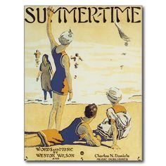 Summer Time Vintage Song Sheet Music Art Postcard #songsheet #music #postcards