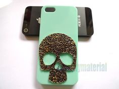 Handmade Retro style Antique copper Skull with Mint green phone case for iPhone 5 cover. $7.99, via Etsy.