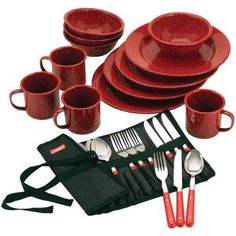 ICYMI: 24-Piece Dinnerware Flatware Set Thanksgiving Xmas Outdoor Camping Plate Kit RED