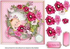 Flower Baby Girl Decoupage Card Front on Craftsuprint - View Now!