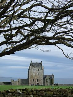 Ackergill Tower, a 15th century Scottish castle on Sinclair's Bay, Wick, Scotland.