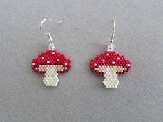 Beaded Mushroom Earrings