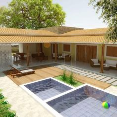 358 Me gusta, 11 comentarios - Peterson Brito Arq. Pallet House Plans, My House Plans, Home Design Floor Plans, Home Room Design, Modern Bungalow House, Modern House Design, Small Backyard Pools, Modern Architecture House, Sustainable Architecture