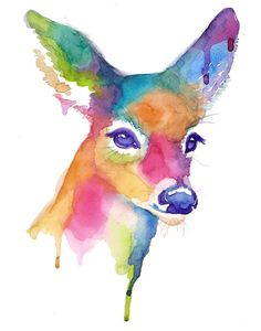 Colorful Doe Abstract Watercolor - Print - Companion Piece to Buck - Painting…