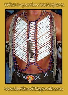 WARRIOR PIPE BONE FRINGED   BREAST PLATE - Review the Tribal Impressions Breastplate collection off of: http://indianvillagemall.com/dreamcatchers/breastplates.html