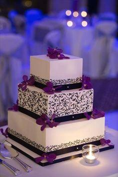 White Cake, Black Swirls, Purple Flowers