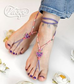 Lilac Barefoot Sandals. Gypsy Bellydance Shoes. by VascoDesign, $25.00