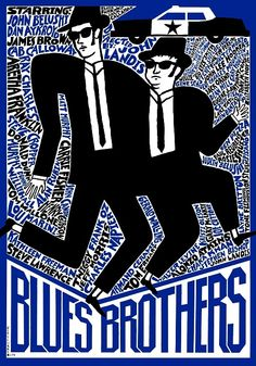 Blues Brothers  Limited edition art poster with the film subject. 300 copies printed  Original Polish poster  film, USA  director: John Landis  actors: John Belushi, Dan Aykroyd  designer: Andrzej Krajewski  year: 2009  size: A1