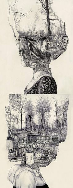 """Pat Perry    (above) Outlived I, ink on paper, 18x24""""    (below) Outlived II, ink on paper, 18x24"""""""