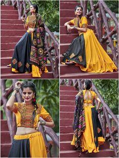 Items similar to Yellow & Black Soft Cotton Navratri Special Lehenga Choli on Etsy Garba Dress, Navratri Dress, Lehnga Dress, Lehenga Choli, Rajasthani Lehenga, Choli Blouse Design, Choli Designs, Lehenga Designs, Blouse Designs