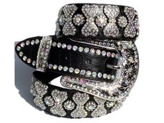 Black Cowgirl Western Leather Belt AB Crystal Bling Rodeo Rhinestones s M L XL | eBay