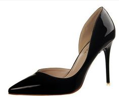 Women Pumps Woman High Heel Shoes Pointed Toe Sexy High Heels Thin Heel Patent PU Leather Shoes alishoppbrasil