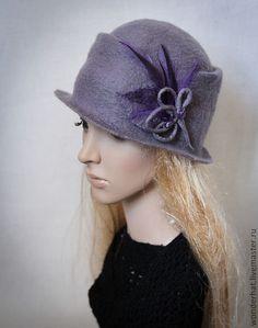 """Шляпка """"Лиловые сумерки"""" - серый,шляпка женская,шляпка с перьями,шляпка валяная"""