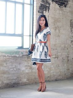 Petite-friendly favorites: sky blue coat + cotton tunic dress