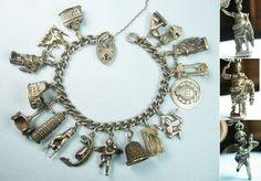 Italy/Etruscan/Rome, Florence, Pompei, Venice /Vintage Silver Charm Bracelet from Joan Munkacsi estate