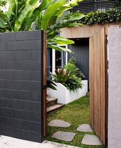 A small tropical garden with low-maintenance plants : The entry gate reveals the evergreen, low-maintenance tropical plants inside this small garden. This award-winning design transforms a petite patch into an inviting, tropical-themed outdoor room. Outdoor Rooms, Exterior Design, Modern Garden, Garden Room, Cottage Garden, Easy Care Plants, Entry Gates, Small Tropical Gardens, House Exterior
