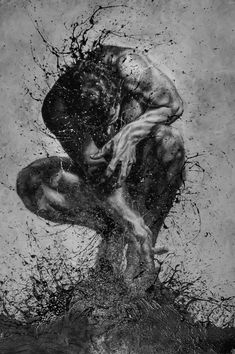 Outstanding Drawings using Finger-Painting Technique by Paolo troilo Art Sketches, Art Drawings, Art Of Man, Sad Art, Sketch Painting, Human Art, Dark Fantasy Art, Finger Painting, Art Graphique
