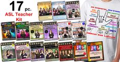 17 pc. ASL Teacher's Kit with FREE ASL Deaf Culture T-Shirt and S&H