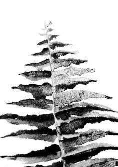 Black Leaf Art Print, botanic trend, black & white wall art, scandinavian…